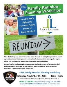 Postponed till after the Holidays. FREE Family Reunion Planning Workshop